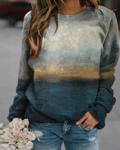 Women Printed Long Sleeve Casual Sweatshirts