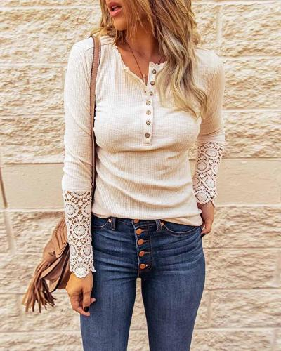 Lace Splice Solid Bottoming Shirt