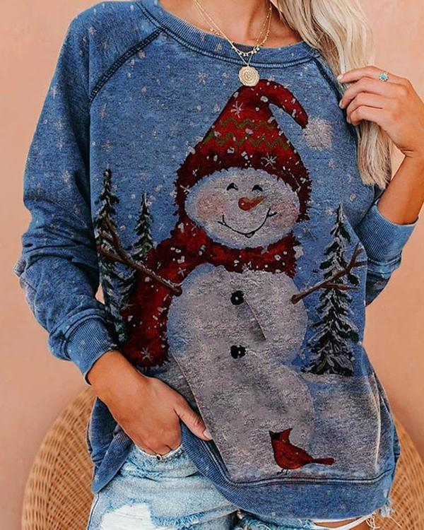 Christmas Plus Size Snowman Print Cute Sweatshirt