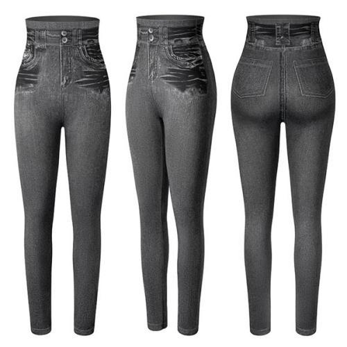 Faux Denim Leggings High Waist Fashion Slim Seamless Leggings Sexy Long Jeans