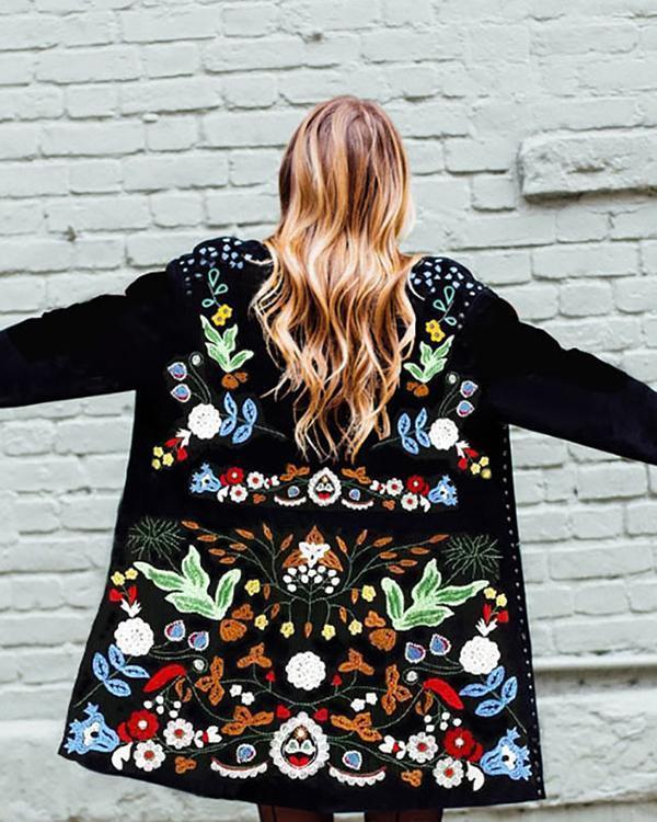 Black Shift Flowers Vintage Trench Coat