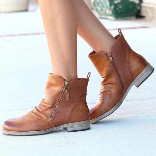 Leather Daily Flat Heel Boots