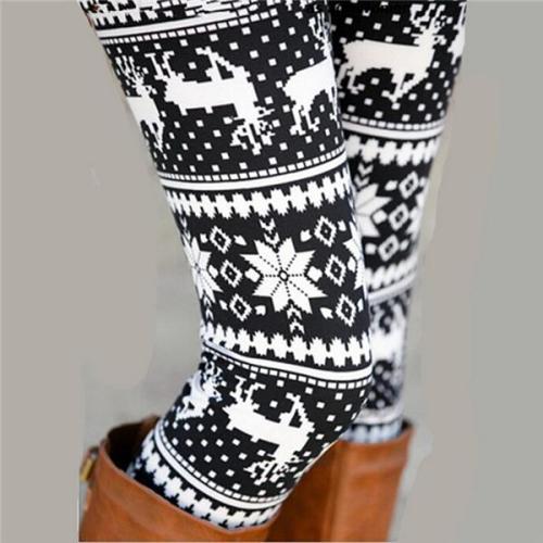2020 New Snowflake Christmas Deer Print Legging Jeggings