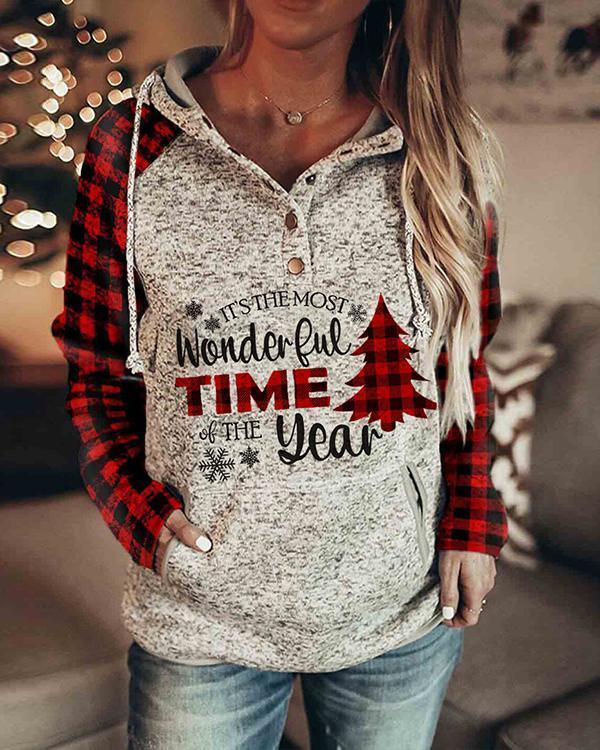 Women's Christmas Print Plaid Sleeve Sweatshirt