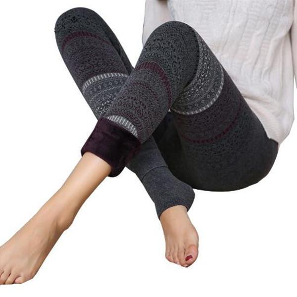 Fashion Totem Winter Leggings Women High Waist Warm Legging