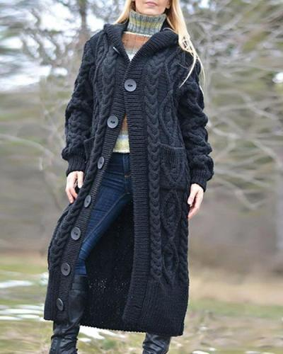 Women Hooded Long Cardigan Coat Winter Fashion Knitwear