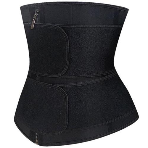 Firm Compression Black Neoprene Double-Belt Waist Trainer Fitness