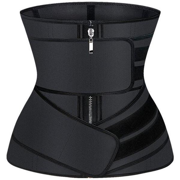 Black Plus Size Latex Waist Trainer 9 Steel Bones Posture Corrector