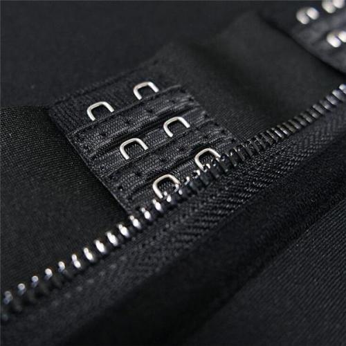 Black Neoprene Waist Cincher 3 Rows Hooks Sticker Smooth Abdomen
