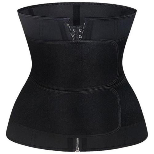 Firm Compression Black Neoprene Double-Belt Waist Trainer Fitness