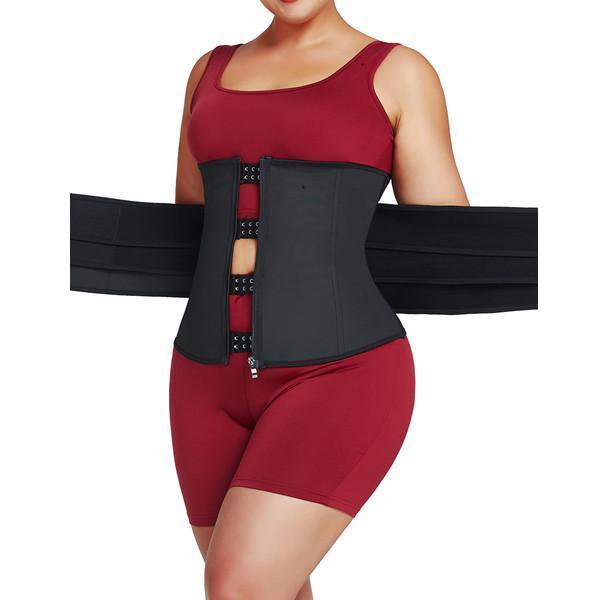 Hidden Curves Black Waist Cincher Double Belts Fashion