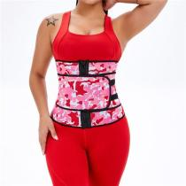 Workout Camo Print Latex Waist Trainer Sling-Belt Slimming Stomach