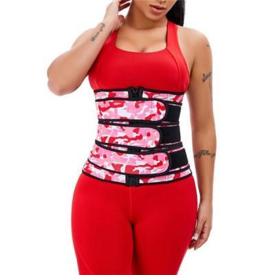 Three Belt Camo Print Latex Waist Trainer Sling-Belt Slimming Stomach