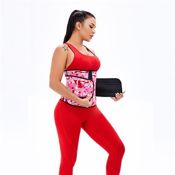 Workout Camo Print Latex Waist Trainer Sling-Belt Slimming Stomach