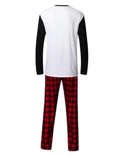 Dad's Cotton Elk Plaid Parent-Child Family Christmas Loungewear