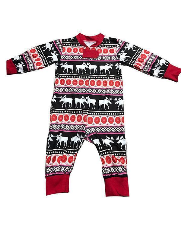Elk Print Family Matching Christmas Pajamas for Infants