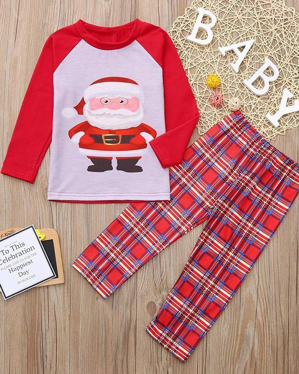 Kid's Cotton Christmas Santa Claus Plaid Parent-Child Loungewear
