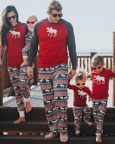 Elk Print Family Matching Christmas Pajamas for Children