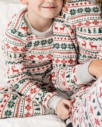 Kid's Stripe Print Parent-Child Family Christmas Loungewear