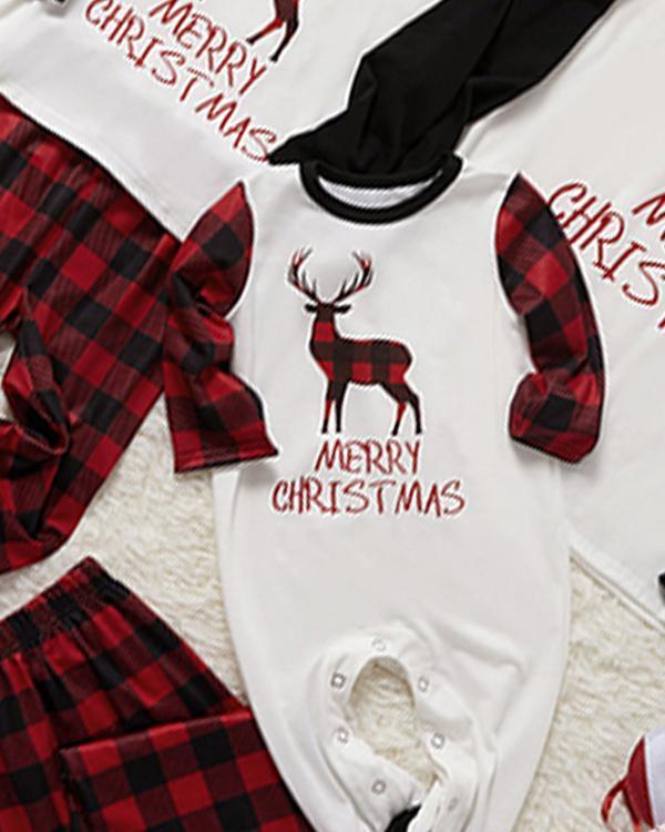 Baby's Cotton Elk Plaid Parent-Child Family Christmas Loungewear