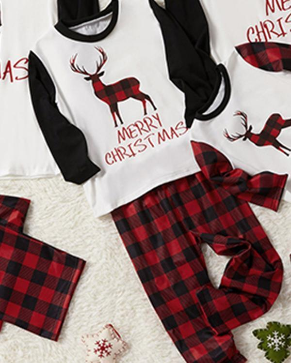 Kid's Cotton Elk Plaid Parent-Child Family Christmas Loungewear