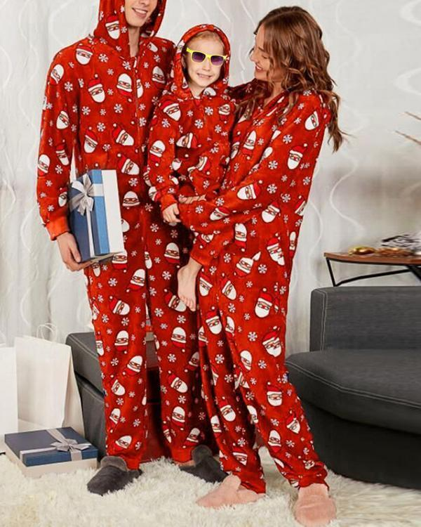 Santa Claus Print Family Matching Christmas Jumpsuit for Mom