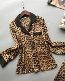 Leopard Print Sexy Long Sleeve Ice Silk Pajama Set