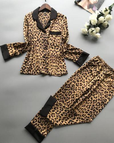 Leopard Print Sexy Long Sleeve Ice Silk Pajama Set