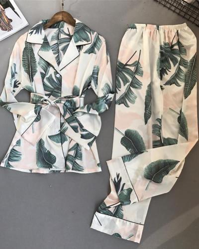 Women Long Sleeve Trousers Pajama Set