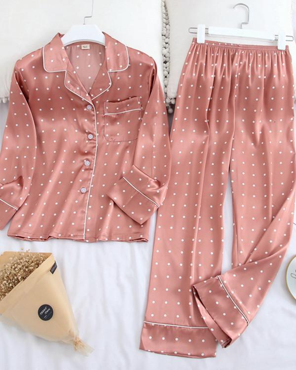 Long Sleeve Pajamas Ice Silk Printing Fashion Sleepwear Set