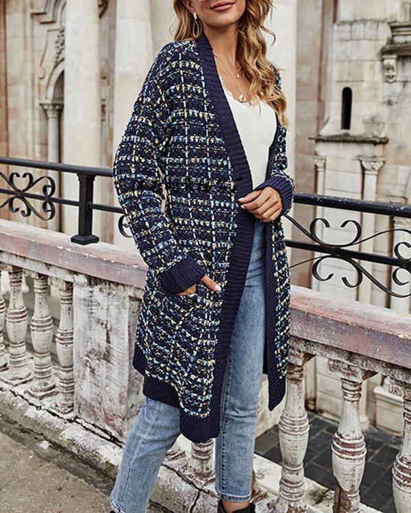 Women Pocket Chunky Knit Cardigan
