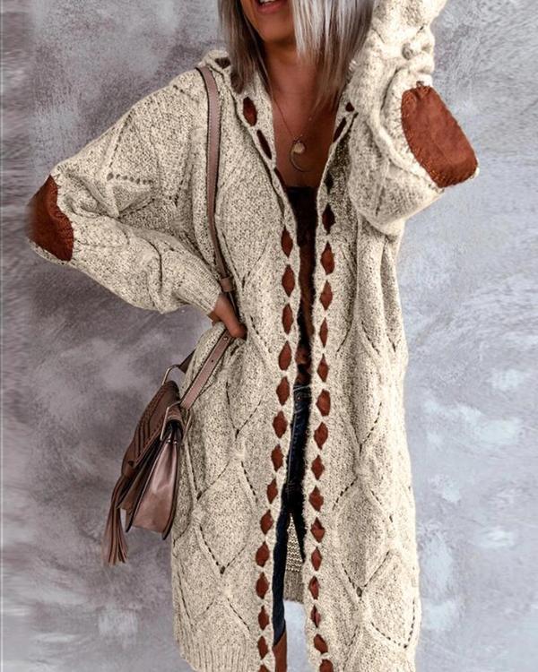 Color Block Hooded Casual Long Cardigan