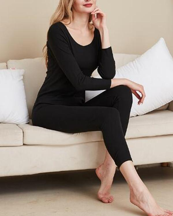 Female Double-Sided Sanded Autumn Winter Warm Thermal Underwear