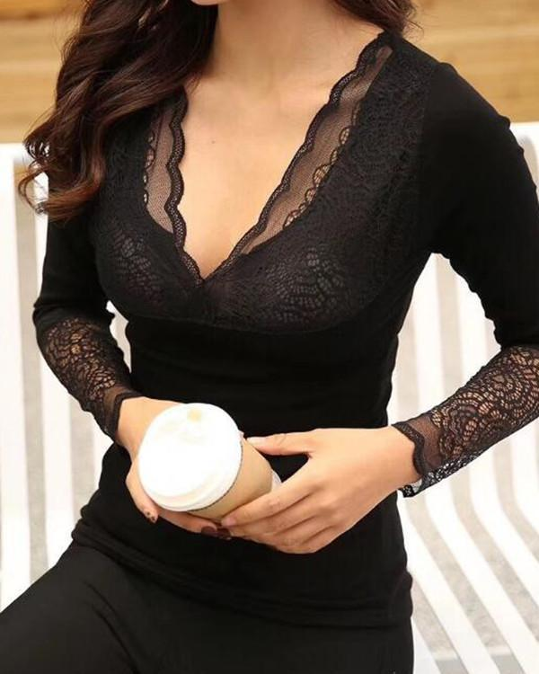 Thicken Winter Cotton Seamless Lace Thermal Underwear