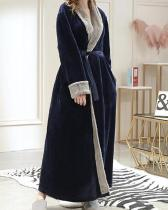 Long Pink Robe Flannels Soft Patchwork Belt Pajamas With Pockets