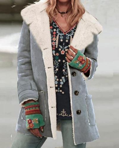 Women Long Sleeve Lapel Buttons Pockets Fur Coats