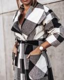 Women Fashion Plaid/Houndstooth Lapel Long Coat