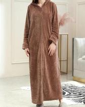 Hooded Long Robe Front Zipper Striped Flannels Pajamas For Women