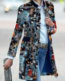 Vintage Print Stand Collar Trench Coat