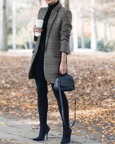 Fashion Plaid One Button Pockets Blazer&Coat