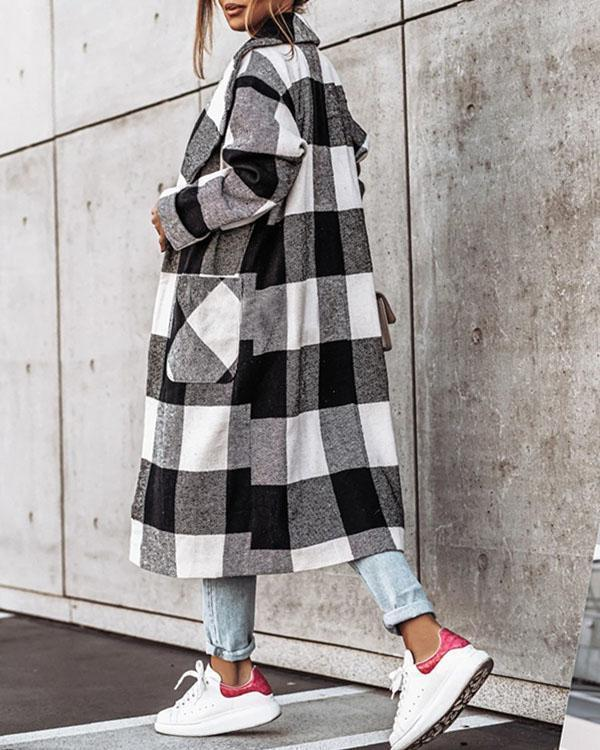 Women Fashion Plaid/Houndstooth Lapel Long Coat