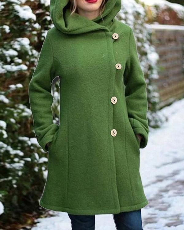 Solid Color Long Sleeves Hooded Warm Coat With Pocket For Women