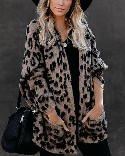Leopard Pocket Loose Knitted Cardigan