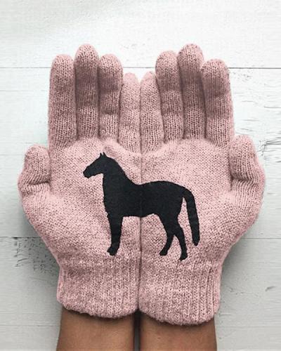 Horse Print Polyester Gloves