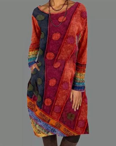 Casual Color Block Shirt Round Neckline Shift Dress