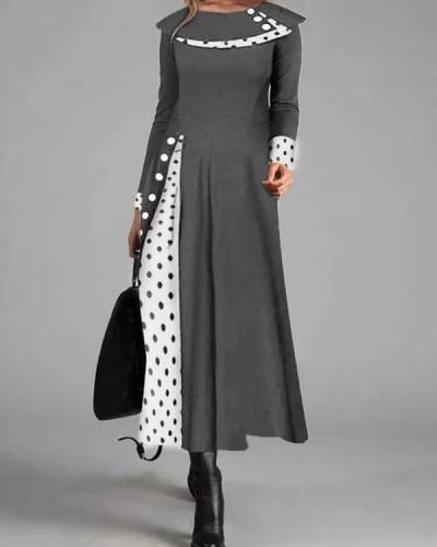 Casual Polka Dot Round Neckline Long Sleeve Maxi Dress