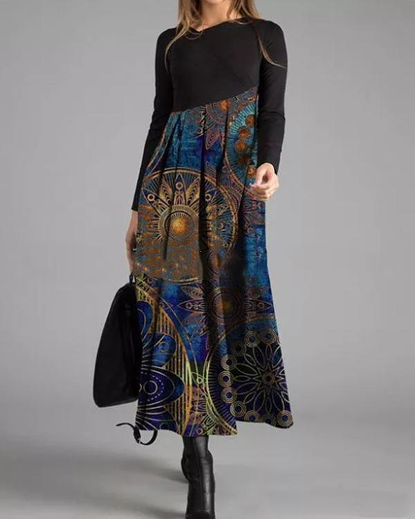 Casual Vintage Abstract Print Tunic V-Neckline Shift Maxi Dress