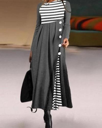 Casual Stripe Shirt Round Neckline Shift Dress