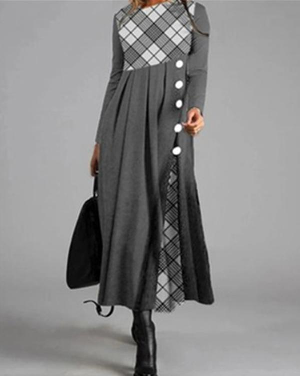 Casual Shirt Round Neckline Shift Dress