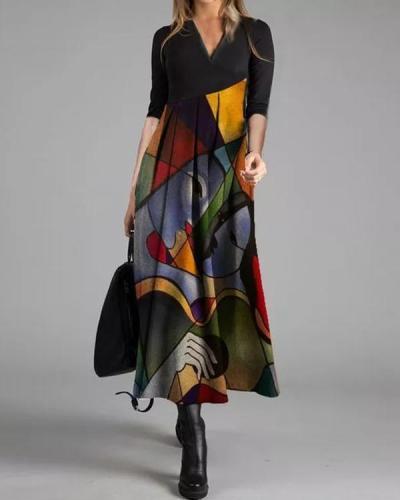 Casual Color Block Tunic V-Neckline A-line Dress